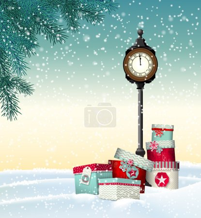 Christmas greeting card, gift boxes with vintage clock in winter landscape, illustration
