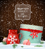 Cristmas greeting card with giftbox and red teacup winter theme illustration
