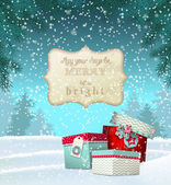 Cristmas greeting card with gift boxes in snowdrift winter theme illustration