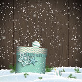 Cristmas greeting card with blue gift box in snowdrift winter theme illustration