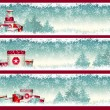 Three christmas banners with goft boxes with winte...
