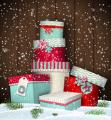Cristmas greeting card with giftbox in snowdrift winter theme illustration