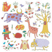 Vector animals and plants Illustaration for children