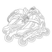 Vector line art roller skates Hand-drawn vector illustration Can be used for graphic design textile design or web design