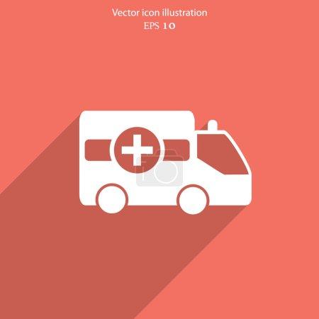 Illustration for Vector ambulance car flat icon. Eps 10. - Royalty Free Image