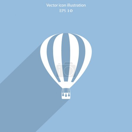 Illustration for Vector hot air balloon web flat icon. Eps 10. - Royalty Free Image