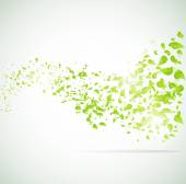 Vector wave background with leaves