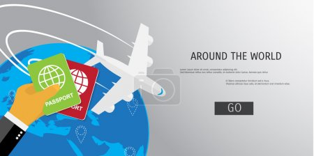 Illustration for Vector flat concept of World travel and tourism. Holidays and vacation. Concepts for web banners and promotional materials. - Royalty Free Image