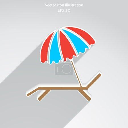 Vector beach umbrella and lounger icon