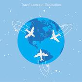 Ilustrace koncept cestování svět