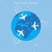 Illustrazione di concetto di mondo viaggi