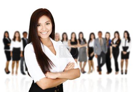 Photo pour Groupe d'hommes et de femmes d'affaires travaillant ensemble - image libre de droit