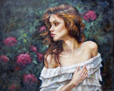 pintura al óleo sobre lienzo de una niña entre las flores