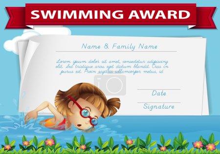 Swimming award certificate template