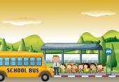 Children getting on school bus at bus stop
