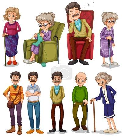 Illustration pour Vieils hommes et femmes dans différentes actions illustration - image libre de droit