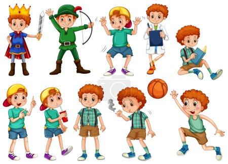 Illustration pour Petit garçon en costumes différents illustration - image libre de droit