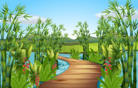 Illustration for Nature scene with bamboos along the bridge illustration - Royalty Free Image