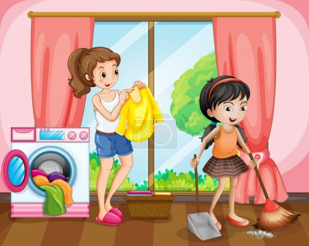 Two girls doing chores at home