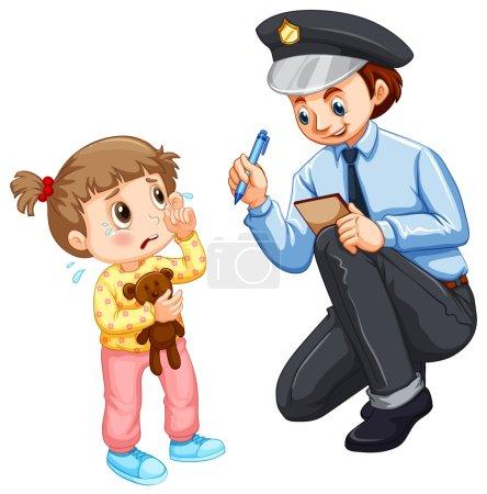 Illustration for Police recording lost child illustration - Royalty Free Image