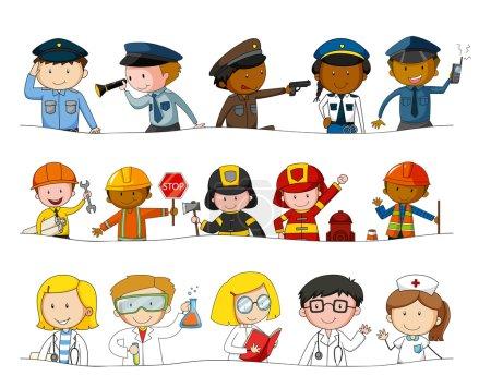 Photo pour Différents types de professions illustration - image libre de droit
