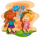 Dvě dívky sprej malování zdi