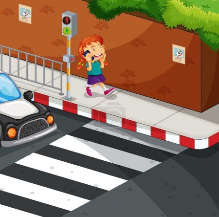 Girl talking on the phone on the road