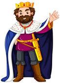 King wearing blue robe illustration