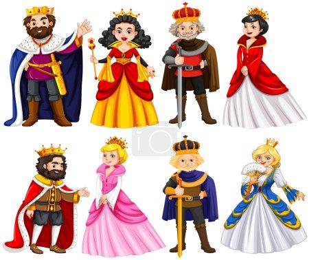 Illustration pour Différents personnages de roi et reine illustration - image libre de droit