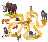 Game template with wild animals illustration