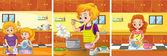Dívka a máma dělá činnosti v kuchyni