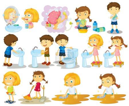 Illustration pour Filles et garçons faisant des corvées illustration - image libre de droit