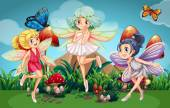 Fairies flying in the garden with butterflies