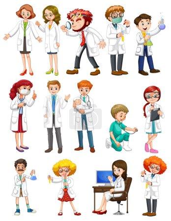 Illustration pour Scientifiques hommes et femmes en robe blanche illustration - image libre de droit