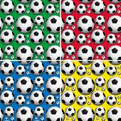 Seamless soccer balls on colors background illustration