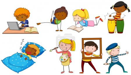 Illustration for People doing different activities illustration - Royalty Free Image