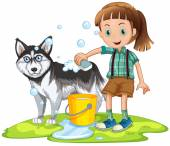 Girl giving bath to pet dog