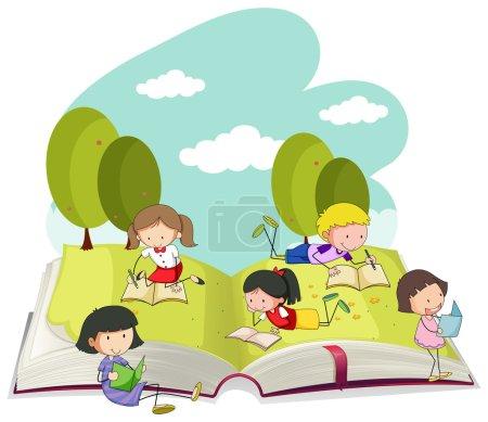 Illustration pour Enfants lisant des livres dans le parc illustration - image libre de droit