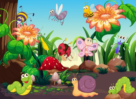 Illustration for Many insects in the garden illustration - Royalty Free Image
