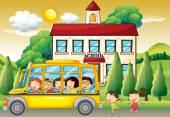 Students riding school bus to school