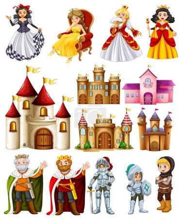 Illustration pour Différents personnages de contes de fées et illustration de palais - image libre de droit