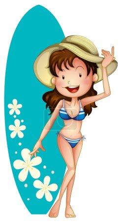 Girl in blue bikini