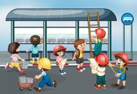 Illustration pour Illustration des enfants sur le chantier - image libre de droit