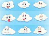 Clouds with facial expressions illustration