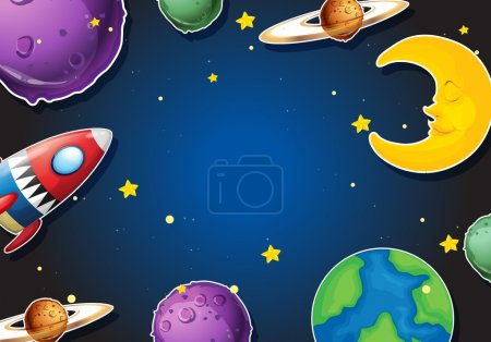 Illustration for Background design with rocket and planets illustration - Royalty Free Image