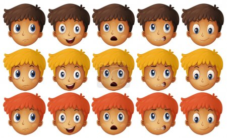 Illustration for Boy with different emotions illustration - Royalty Free Image