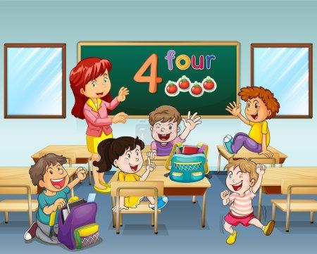 Illustration pour Enseignant et étudiants en illustration de classe - image libre de droit