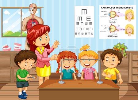 Illustration pour Professeur de sciences et étudiants en illustration de classe - image libre de droit
