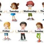 Kids holding cards saying days of the week illustr...