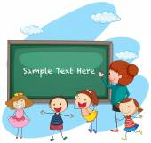 Frame template with teacher and students illustration